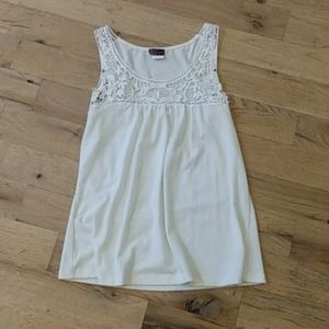 White Tank Top Blouse with Lace